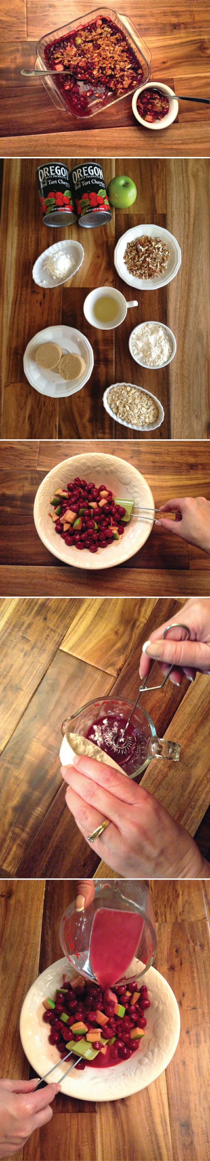 Cherry Crisp recipe made with Oregon Red Tart Cherries