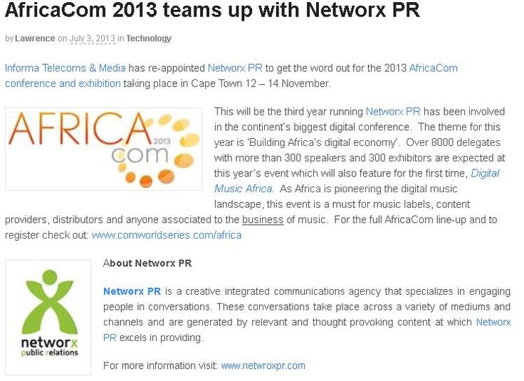 #AfricaCom 2013 teams up with #NetworxPR #digitalstreetmedia
