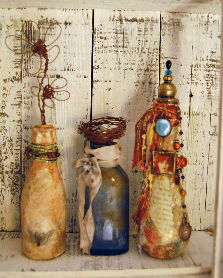 Working on new bottles, new possibilities, and enjoying the overall freedom of Mixed Media. So few rules, and so much latitude to explore co...