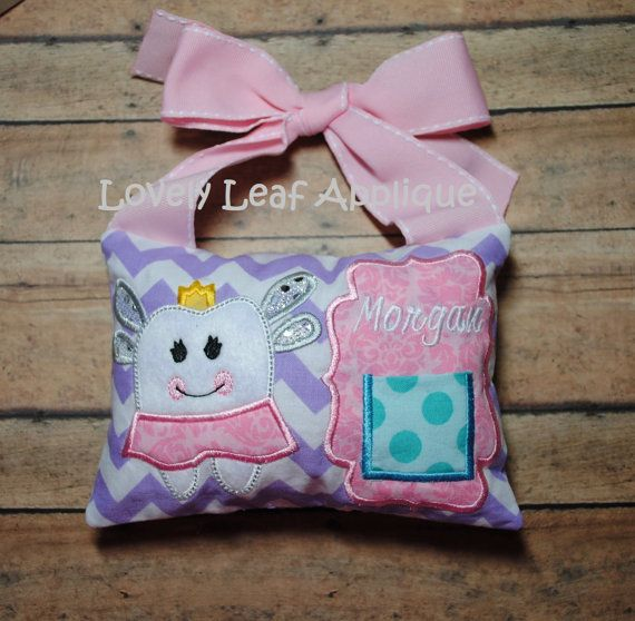 5x7 Tooth Fairy Pillow ITH Design by LovelyLeafApplique on Etsy