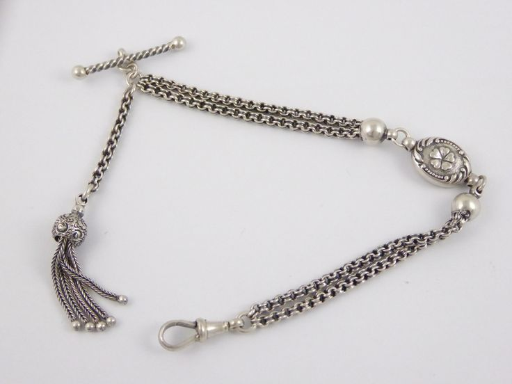 Antique Fancy Silver Albert Watch Chain with Tassels and T Bar - The Collectors Bag