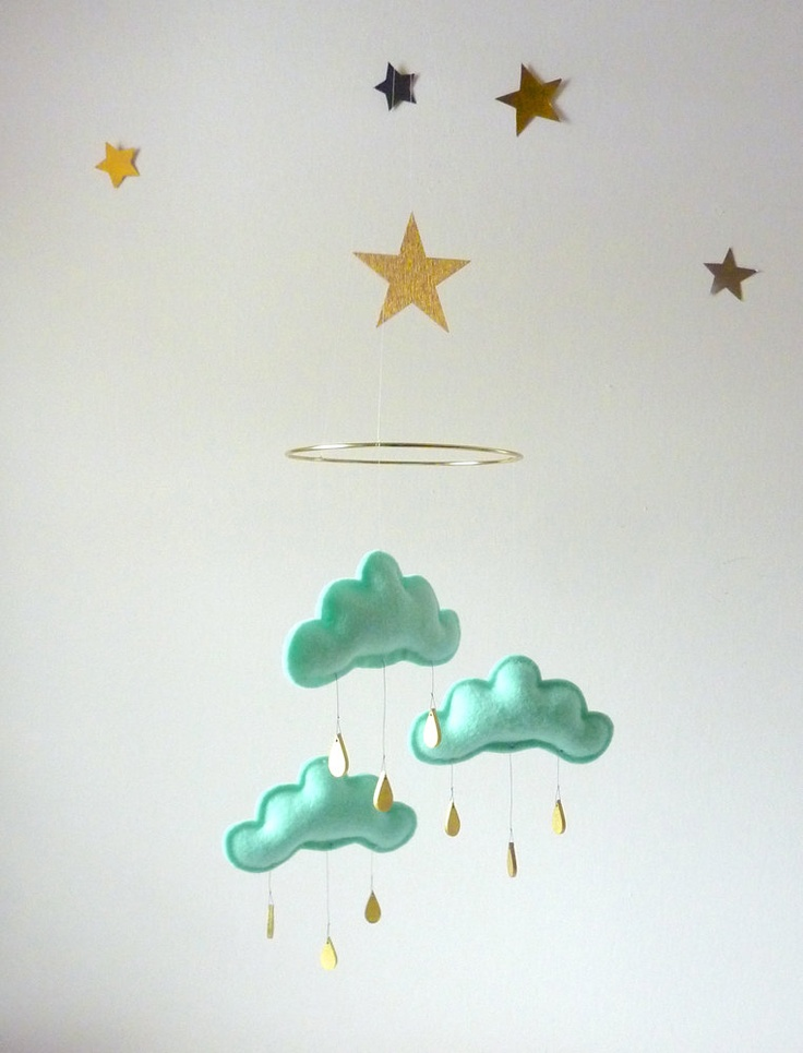 mint cloud mobile w/gold star
