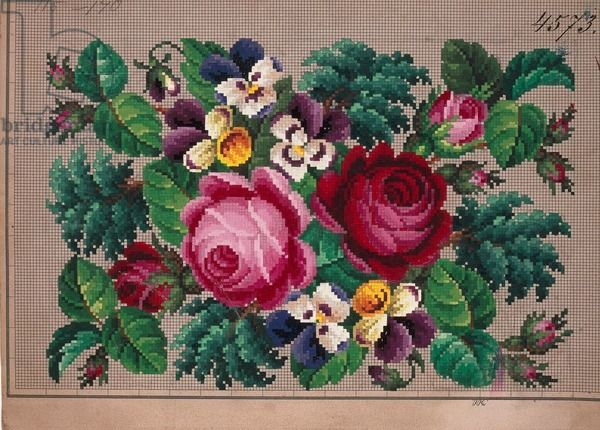 Bunch of roses and violets embroidery design, 19th century SAVED