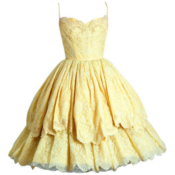 Pre-owned 1950's Lemon-Yellow Beaded Floral-Lace Tiered Full Scalloped... (£345) ❤ liked on Polyvore featuring dresses, short dresses, vestidos, yellow, evening dresses, short lace cocktail dress, lace cocktail dress, short yellow dress, yellow cocktail dress and lace mini dress