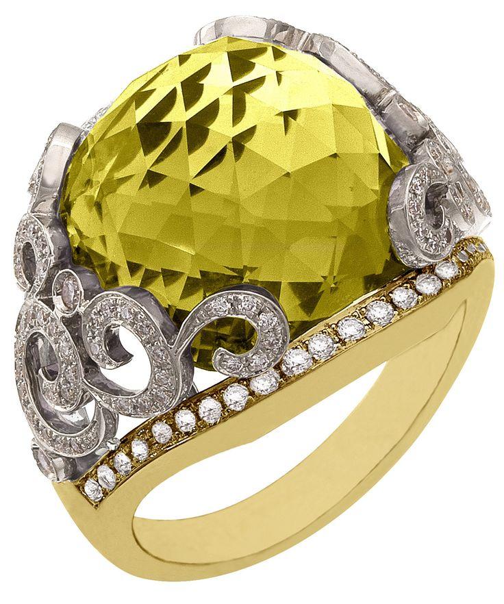 Diamond Ring, .60 Carat Diamonds 15.83 Carat Quartz on 14K White & Yellow Gold