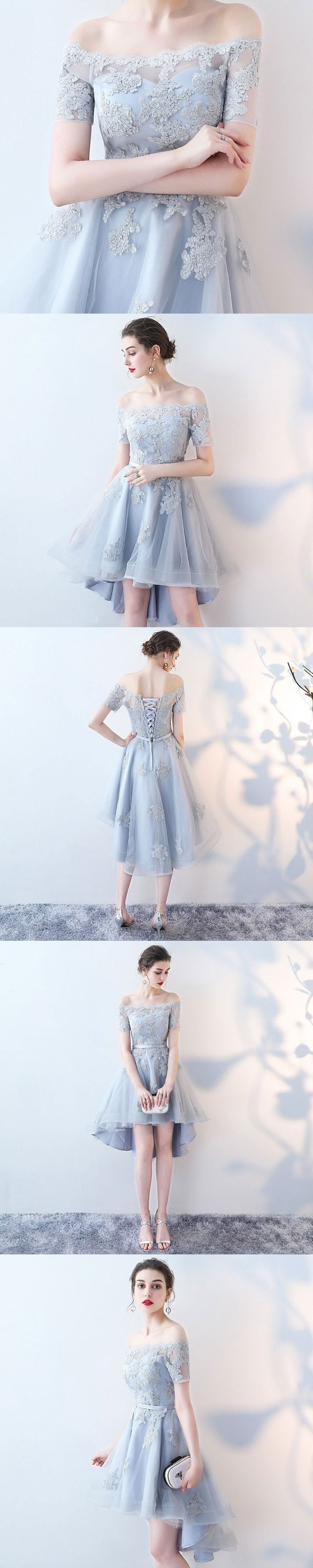 Grey mini homecoming dresses with short sleeves,off the shoulder prom dresses,cheap homecoming dresses,graudation dresses