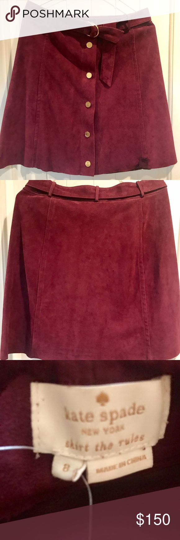 ♠️KATE SPADE NEW YORK SUEDE A-LINE SKIRT♠️ ♠️Velvety-soft goat suede/ Burgundy hue ♠️ Gleaming snaps down the front center ♠️ Removable double D-ring belt ♠️ No pockets ♠️ Unlined ♠️ Professional leather clean ♠️ By Kate Spade New York; Imported ♠️ NWT - Bought at Nordstrom Rack (Please, inspect all pictures. There are slight imperfections on the suede that a cleaning could remove.) See picture #4 and #5 ♠️ Buy at your discretion/No Returns ♠️Nothing has been altered by me. Bought as is now…