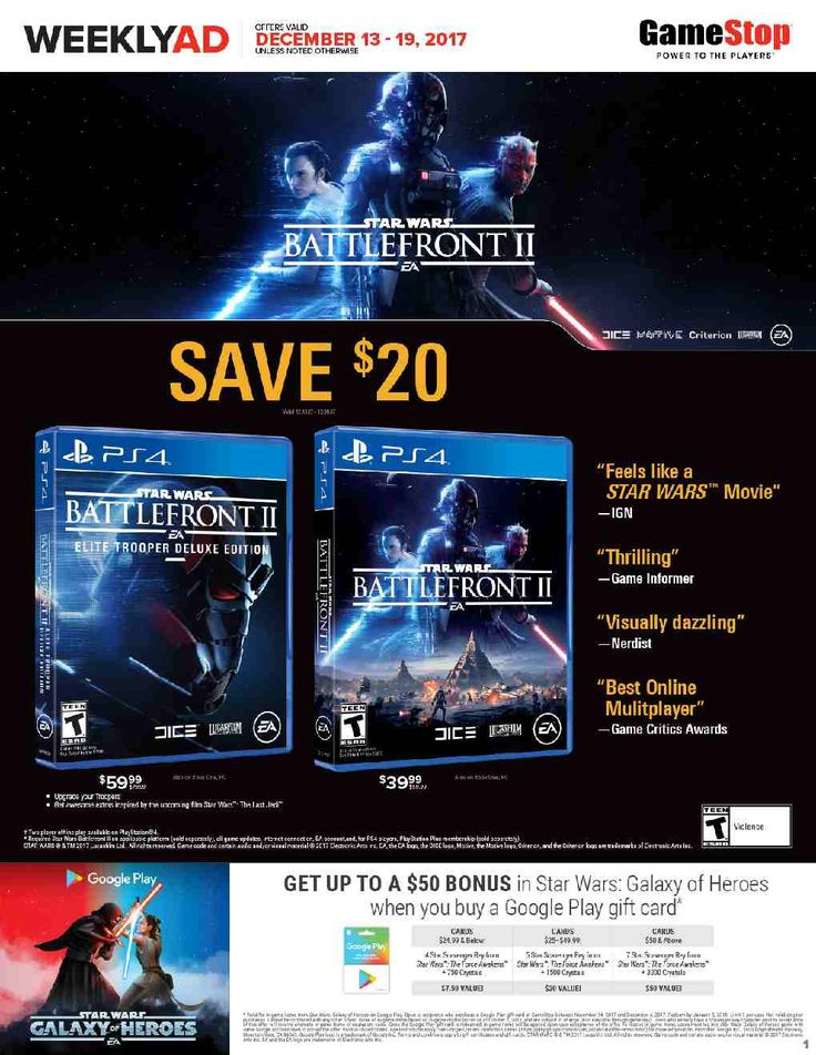 Game Stop Weekly Ad December 13 – 19, 2017 – Game Stop weekly ad comes around almost obtain but in many cases people see the Game Stop ad plus they are quick to throw it out. Checking the ads each and every week and clipping your coupons which come from the weekly circular ads can sometimes be an exceptionally rewarding experience. Game Stop regularly includes coupons which could equate his up to 50% off your purchase. Consequently you could try out a lot of the h