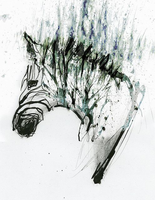 Ink Zebra Design - for a tattoo, but I just like the image.