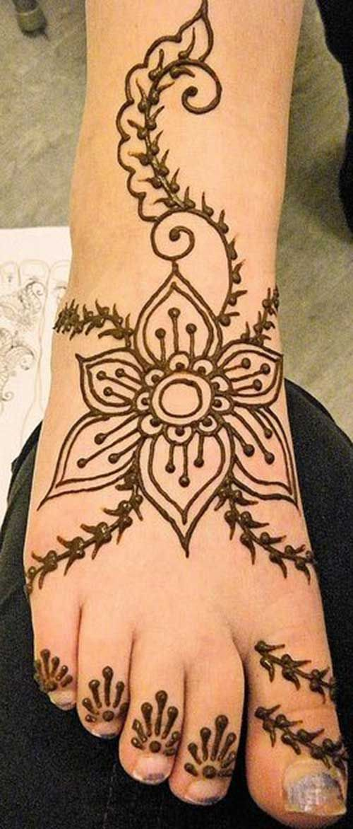 Henna Flower Tattoos for Foot