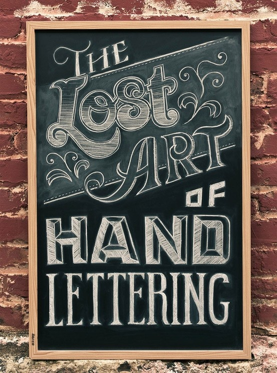 'hand lettering' chalkboard art . . .could be used for study on line variation and value