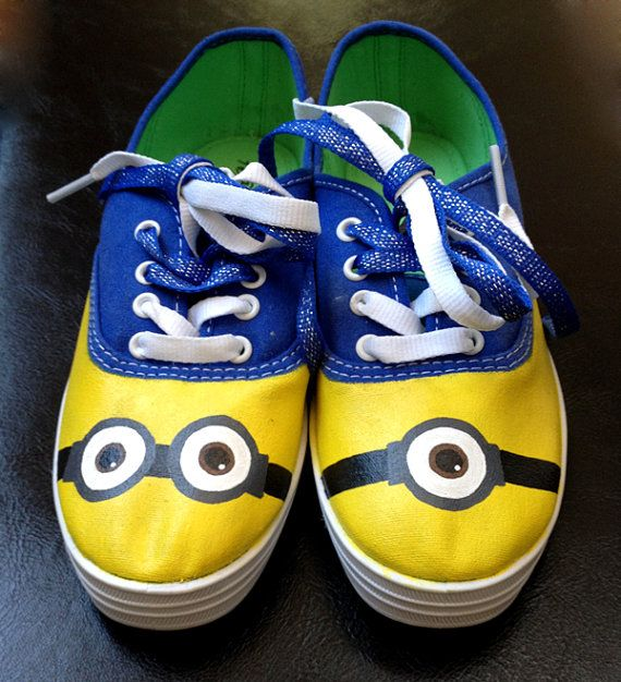 Made to order custompainted Minion shoes by iconickicks on Etsy, $45.00
