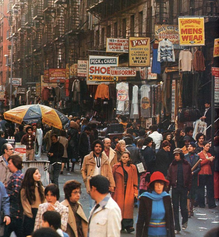 Sunday afternoon on Orchard St., NYC, Anthony Burgess, 1970s