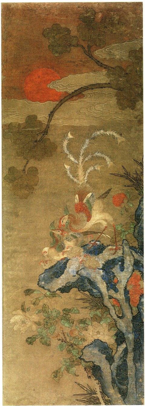 봉황-필라델피아 미술관 봉황도    19세기 종이에 채색 156.2-54.6cm  -봉황은 중국에서 고대로부터 신성시해왔던 4령(四靈)의 하나로서 정확히는 수컷을 봉(鳳), 암컷을 황(凰)이라 한다.