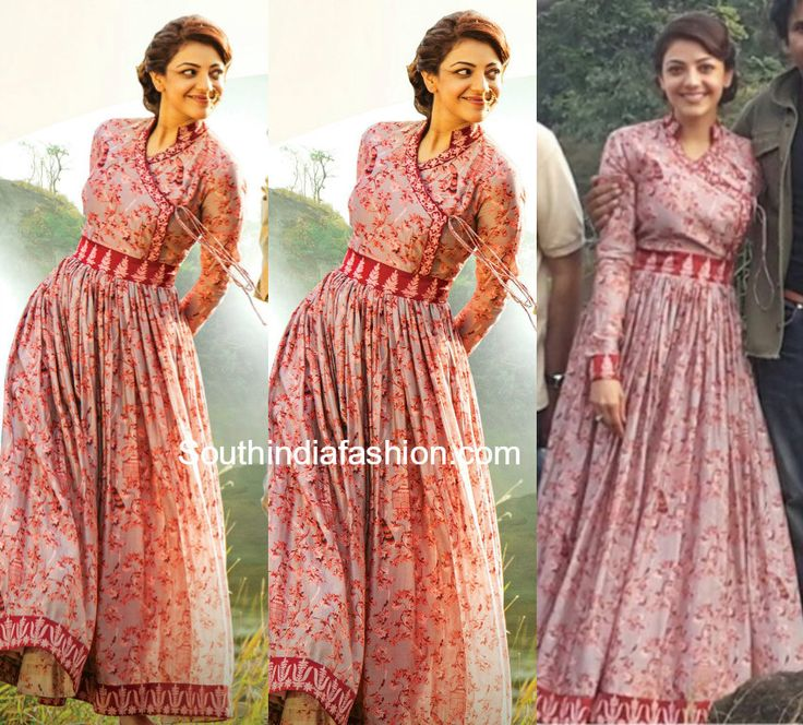 Kajal Aggarwal in a floor length floral printed Angrakha style anarkali by Rohit Bal.