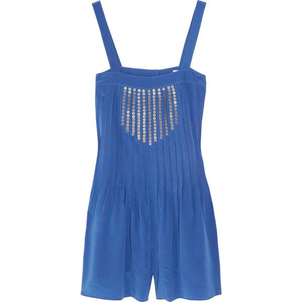 Tibi Silk crepe de chine playsuit (92 AUD) ❤ liked on Polyvore featuring jumpsuits, rompers, playsuits, dresses, shorts, bright blue, sequin rompers, playsuit romper, summer romper and pleated jumpsuit