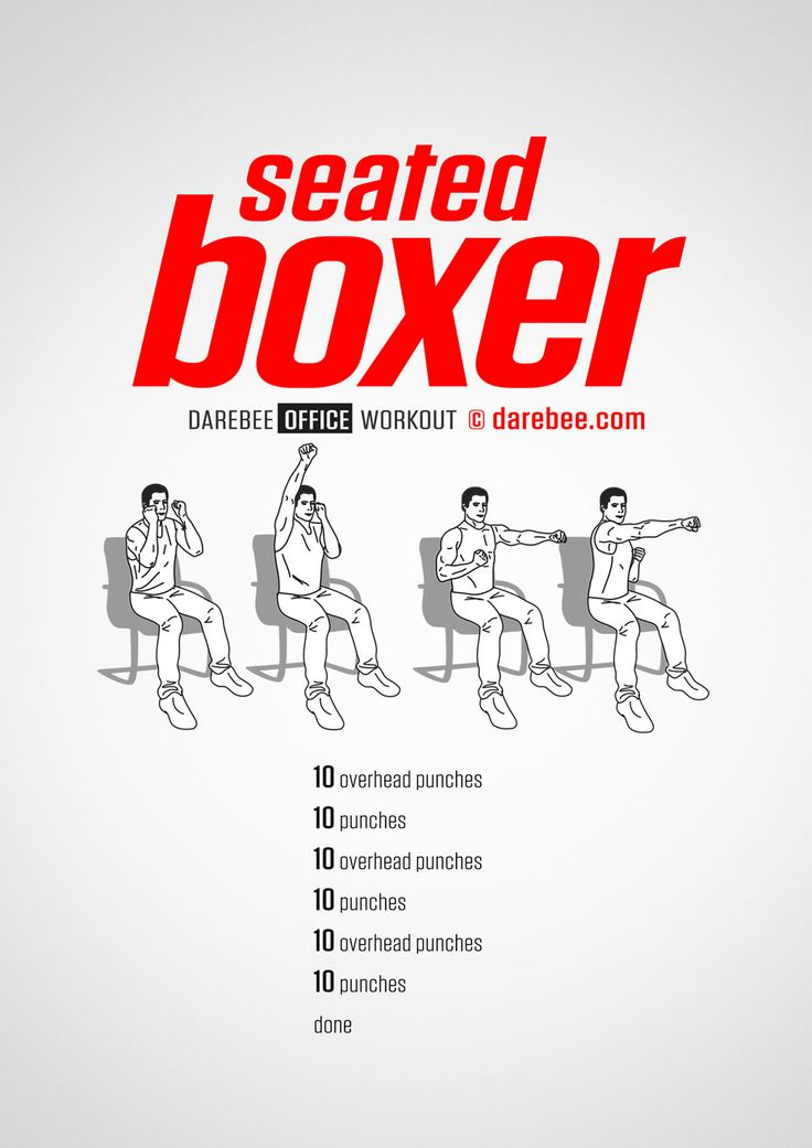 Seated Boxer workout. Office exercise, Senior fitness
