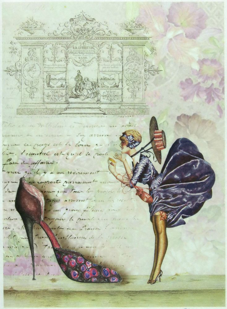 Ricepaper / Decoupage paper, Scrapbooking Sheets High Hill Shoes Purple