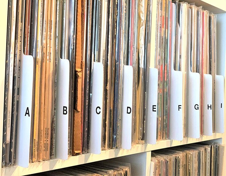 A to z white vertical vinyl record dividers 12inch lp