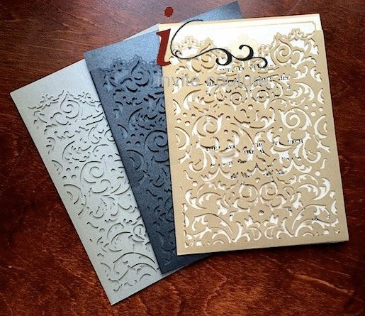 Custom Lasercut Luxury Wedding invitation Pockets by PaperWeLove. $125 for 25