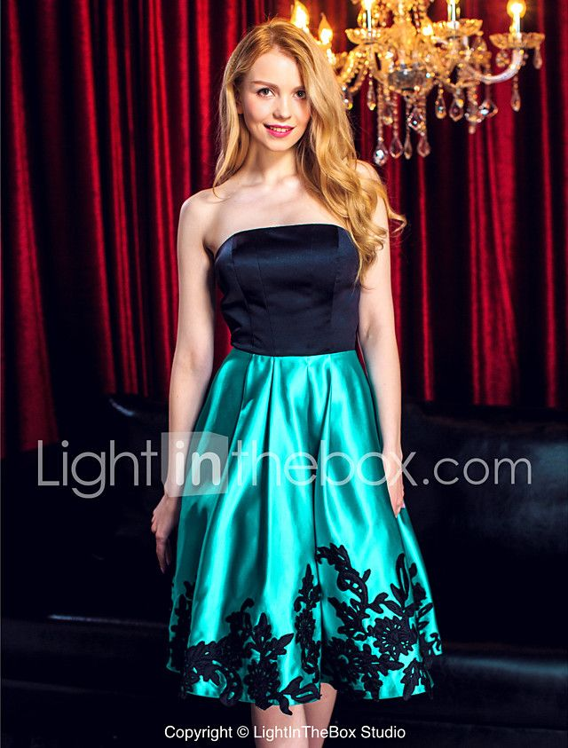 TS Couture Cocktail Party Prom Company Party Dress - Color Block A-line Strapless Knee-length Satin with Appliques 2017 - $109.99