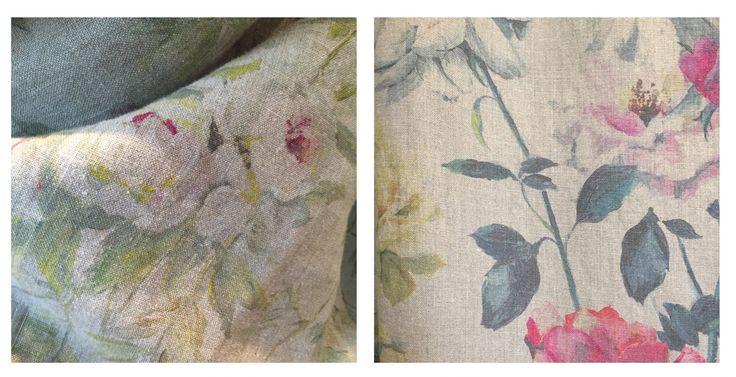 Beautiful, evocative floral designs printed on grey linen @DesignersGuild #LDW #InteriorDesign #London #Fabrics