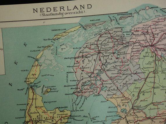 Holland antique map  1919 original old Dutch by DecorativePrints