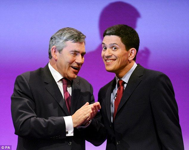 Rise: David Miliband had been close to Gordon Brown and was favourite to take over as leader in 2010