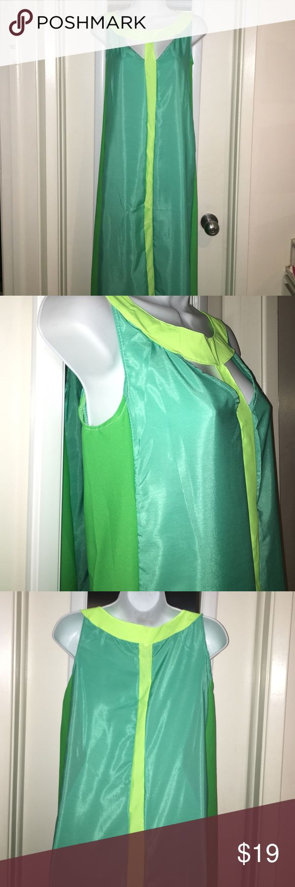 """New 3 colors maxi dress size S/M New maxi dress. 3 colors neon,green and teal. From shoulder to hem 57"""". No tags but fits good on a S/M. Poly material. No stains,rips or imperfections. Please ask all the necessary questions before purchasing to make sure and clear this is what you want. Thank you for visiting. Your purchases are my blessings. Have a great Poshing shopping ❤️💜💚 no brand Dresses Maxi"""