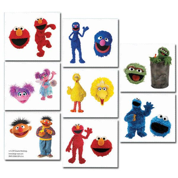 Send your guests home with the ultimate sticker - a Sesame Street tattoo! These easy to put on, semi-permanent tattoos come in a set of 32and feature all of your favorite Sesame Street characters.
