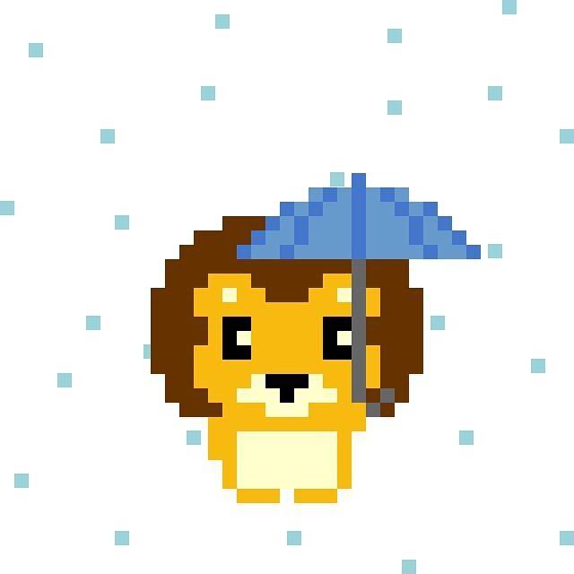 天気実況大阪雨 #pixelart #lion #weather #osaka #ドット絵 #ライオン #天気 #大阪