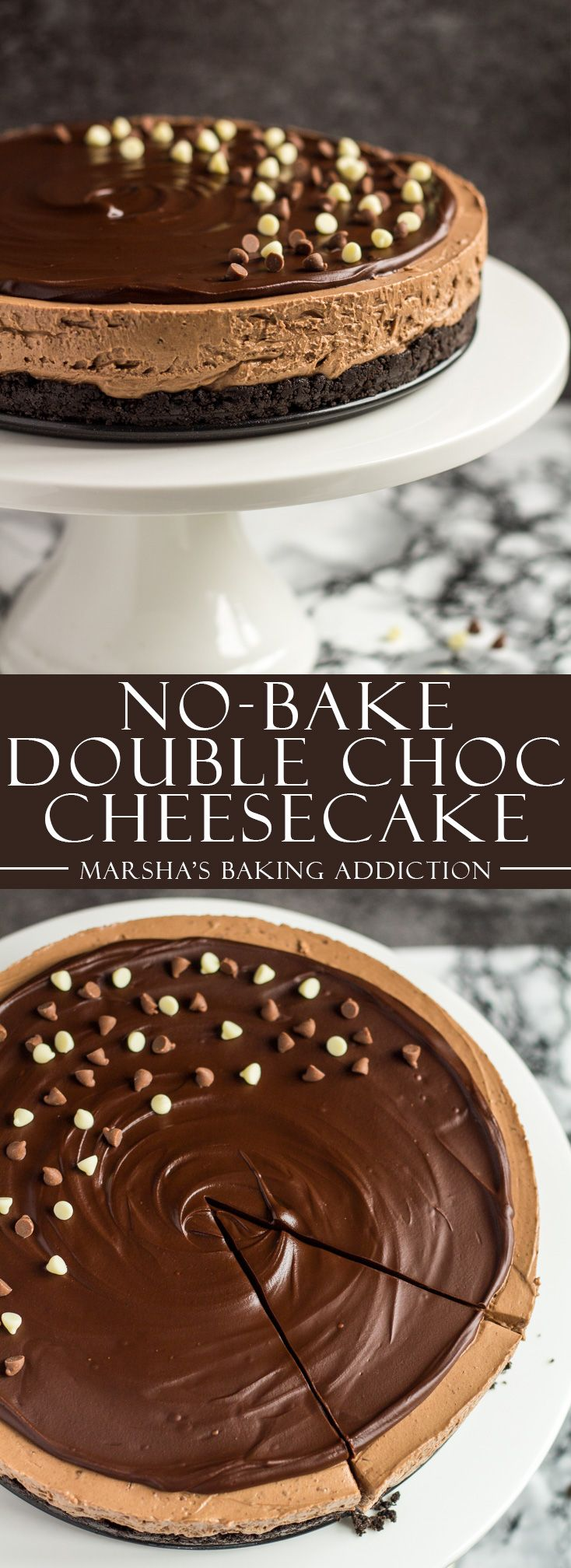 No-Bake Double Chocolate Cheesecake | marshasbakingaddiction.com @marshasbakeblog