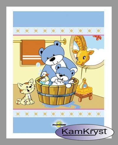 Acrylic Blanket Teddy Bear children's bath blue available at the store KamKryst | Akrylowy Kocyk dziecięcy Miś w kąpieli niebieski dostępny na stronie sklepu KamKryst