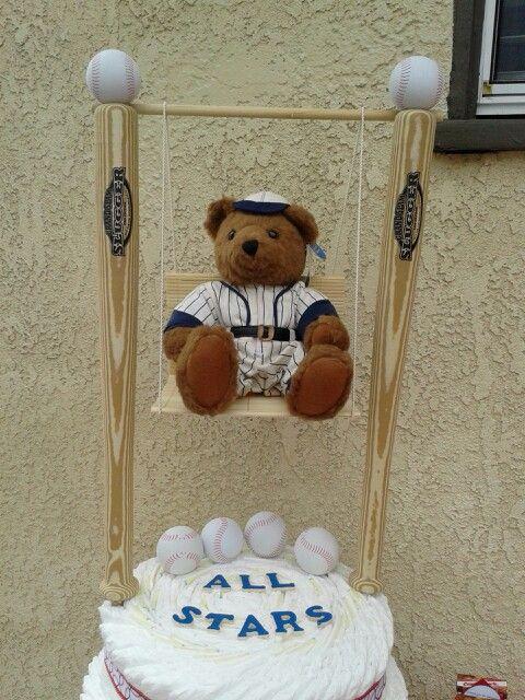 Baby Shower Baseball Baby Boy Theme Diaper Cake. Created by Cyd Haltom