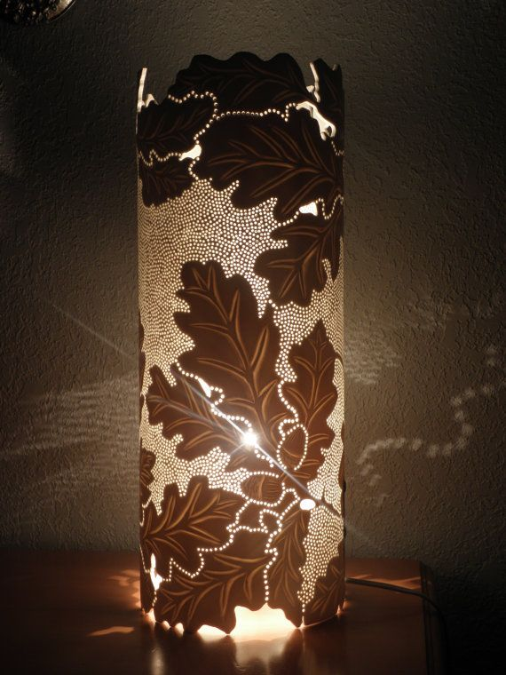 Oak Leaves and Acorns Table Lamp. Botanical. by GlowingArt on Etsy