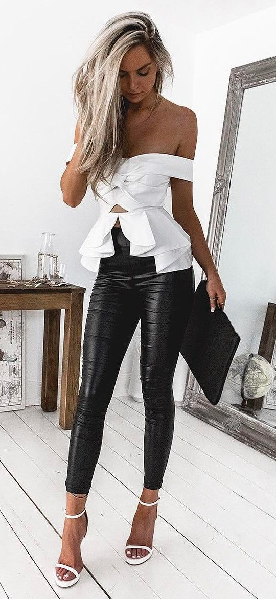 amazing outfit : off shoulder top + bag + heels + skinny pants