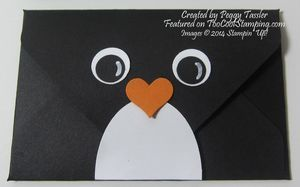 Gift Card Holder Week: Two Cool Penguin Projects; features Stampin Up envelope punch board and owl punch for a penguin gift card holder.
