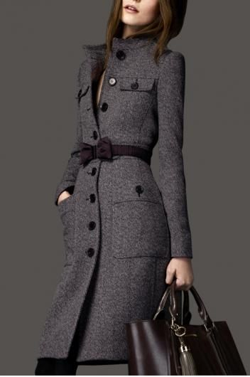 Long section cashmere woolen coat