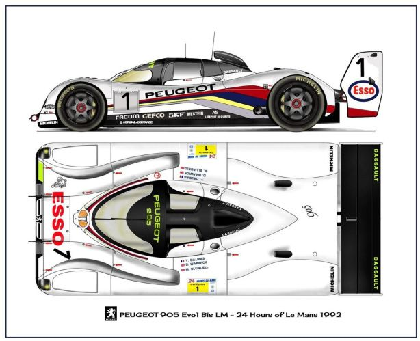 905 Drawing : 1992/3 Peugeot 905 Evo 1. Carbon Fibre Chassis Weighing 750Kg
