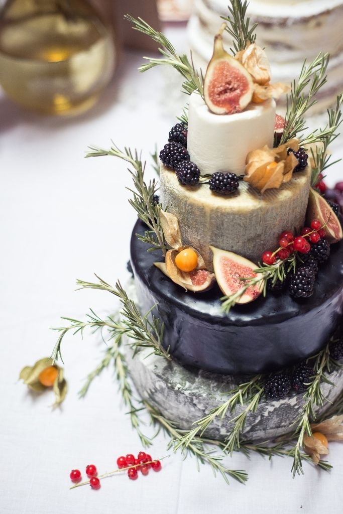 MODwedding . Cheese Wedding Cake . { idea for tiered cheesecake . figs blackberries & floral flavours . perfect for a summer wedding . the Great British Bake Off 2015 . Episode4 . showstopper } .