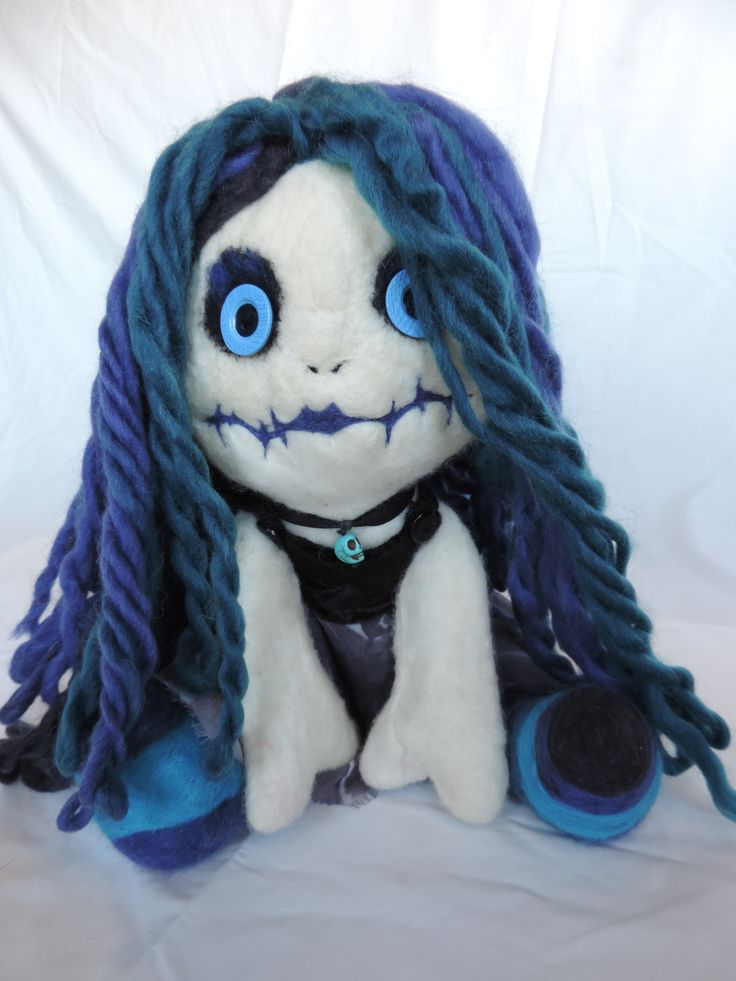 Handmade felted gothic rag doll created by NomesB Cre8tions