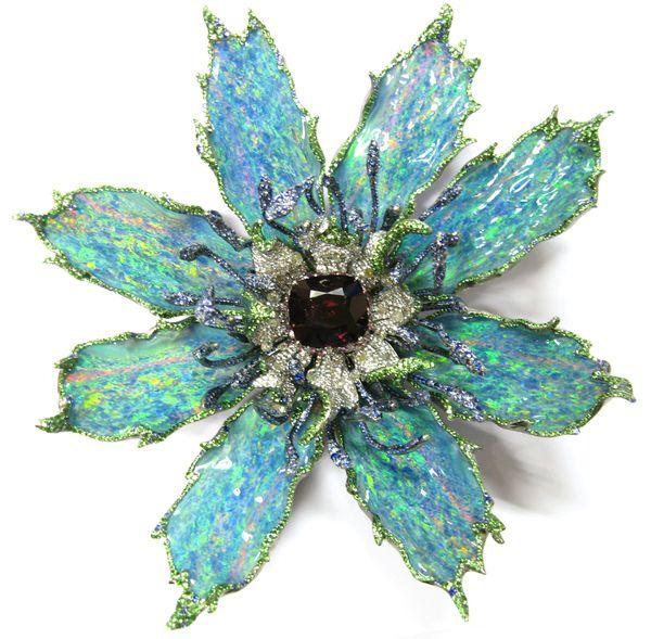 Wallace Chan Opal Sapphire Garnet Gold Flower Pin