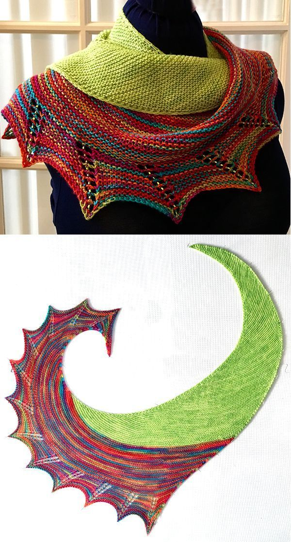 Strickmuster für Smash Shawl – Asymmetrisches Schal stricken in Kraus