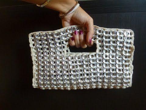 Como hacer un bolso de fiesta con anillas de lata parte 1 DIY - YouTube