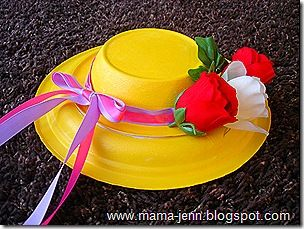 Hat from paper plates--Easter bonnet or tea party hat, etc.