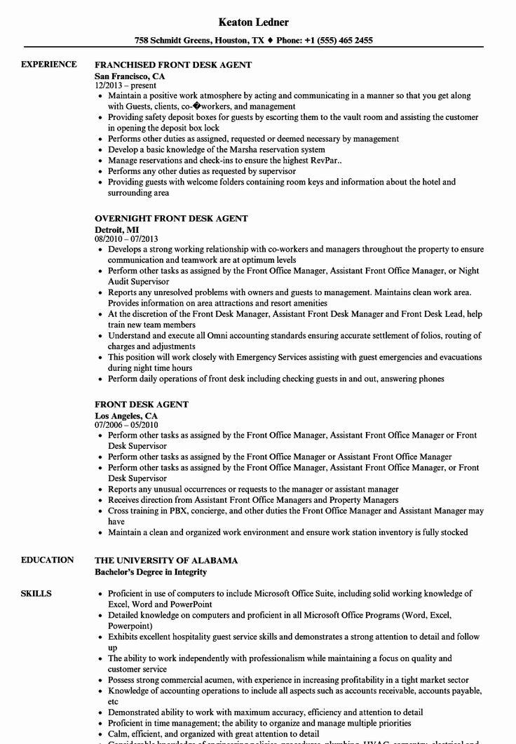 Hotel Front Desk Job Description Resume Fresh Front Desk
