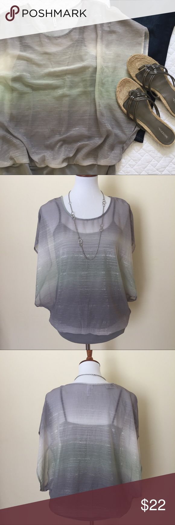 NWT Layered Tank/Batwing Top Super cute poly/rayon blend shear batwing top with attached tank - silver/grey/pale green - scoop neck - banded waist - tank is built in at waist - NWT Tops