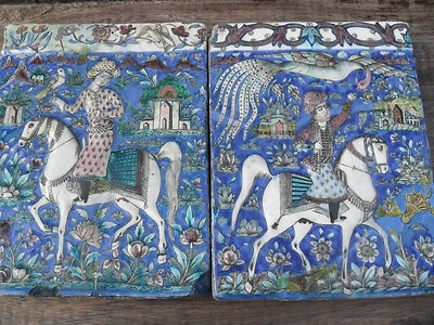 PAIR 19th CENTURY LARGE MOULDED POTTERY TILES PERSIAN QAJAR IRAN