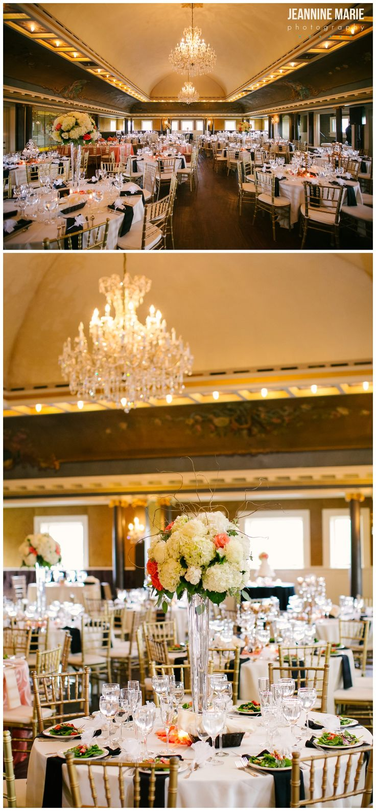 Indoor wedding reception at Semple Mansion in Minnesota. Linens by Apres Party Rental. Floral by Julia's Blooms. Photos by Minneapolis wedding photographer Jeannine Marie Photography. #semplemansion #wedding #weddingreception #weddingdecor #centerpieces #flowers #weddinginspiration #weddingideas #mansionwedding #Minnesotaweddingvenues #minneapolisweddingphotographer #saintpaulweddingphotographer #jeanninemariephotography