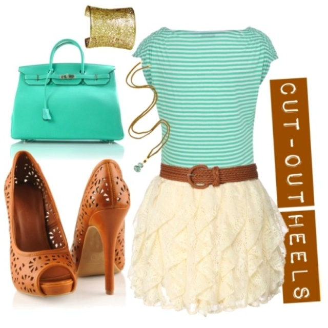 cute!Colors Combos, Fashion, Cutout, Summer Outfit, Skirts, Style, Clothing, Heels, Cut Out